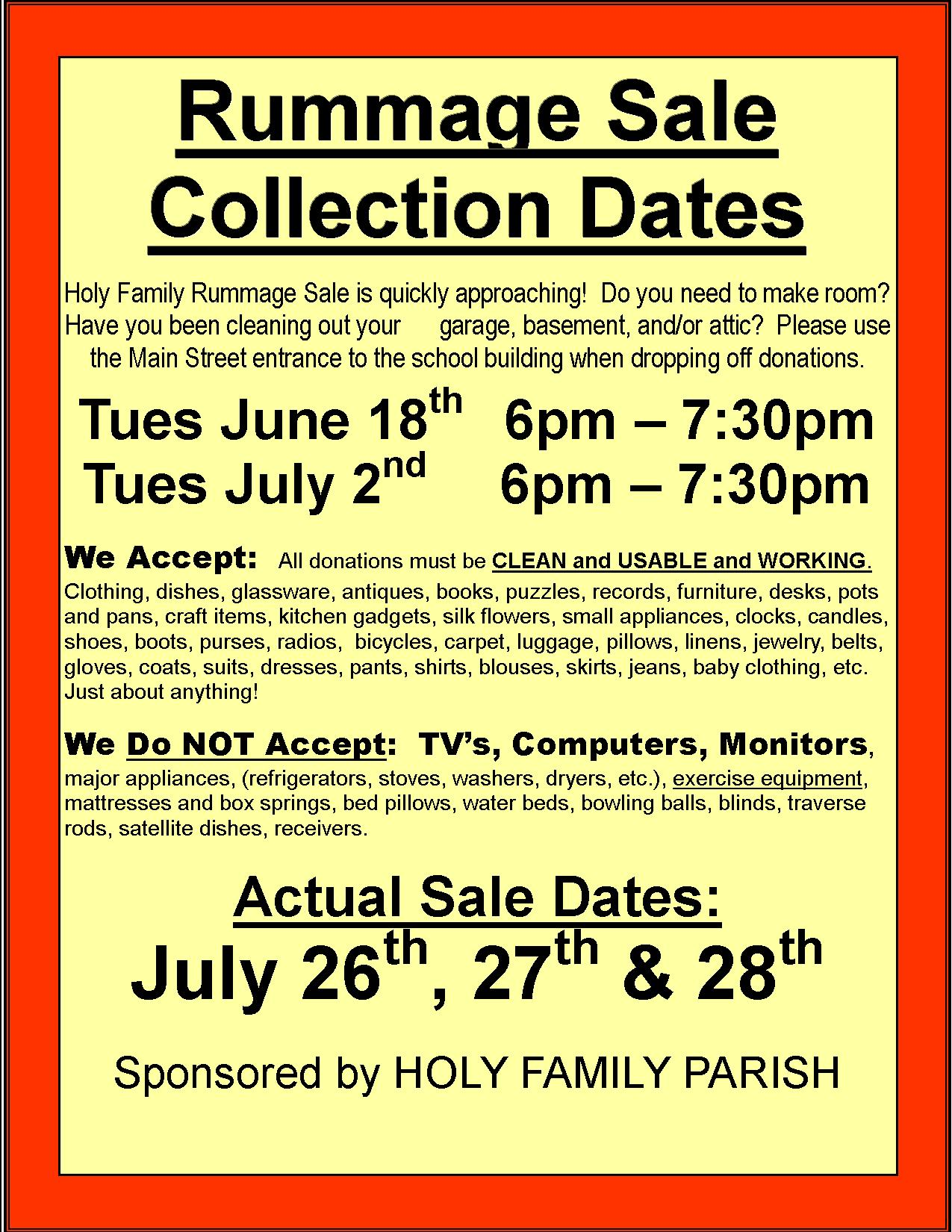 Rummage Sale 2019 collection 2 dates – Holy Family Church